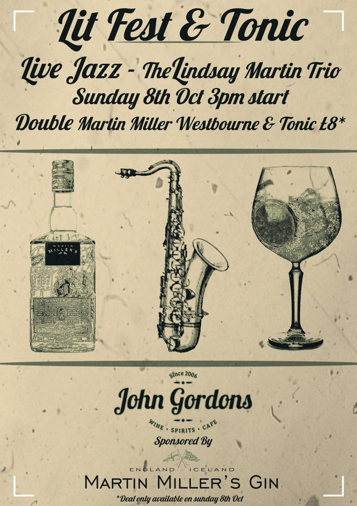 Literature Festival Gin and Tonic Event at John Gordons 08/10/17