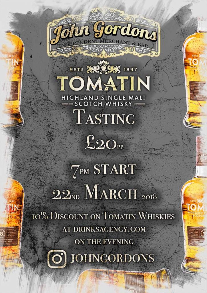 Tomatin Whisky Tasting 22nd March 2018 at John Gordons