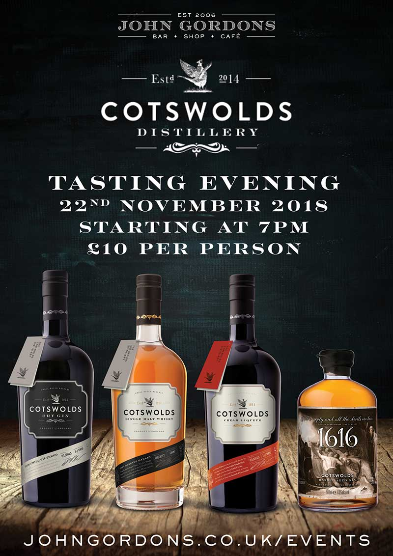 Cotswolds Distillery Tasting at John Gordons Cheltenham on 22nd November 2018