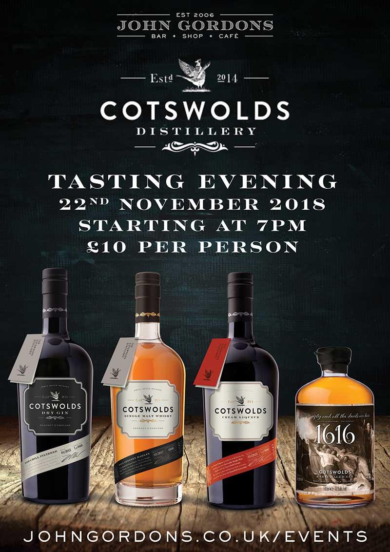 Cotswolds Distillery Tasting at John Gordons Cheltenham on 22nd November 2018