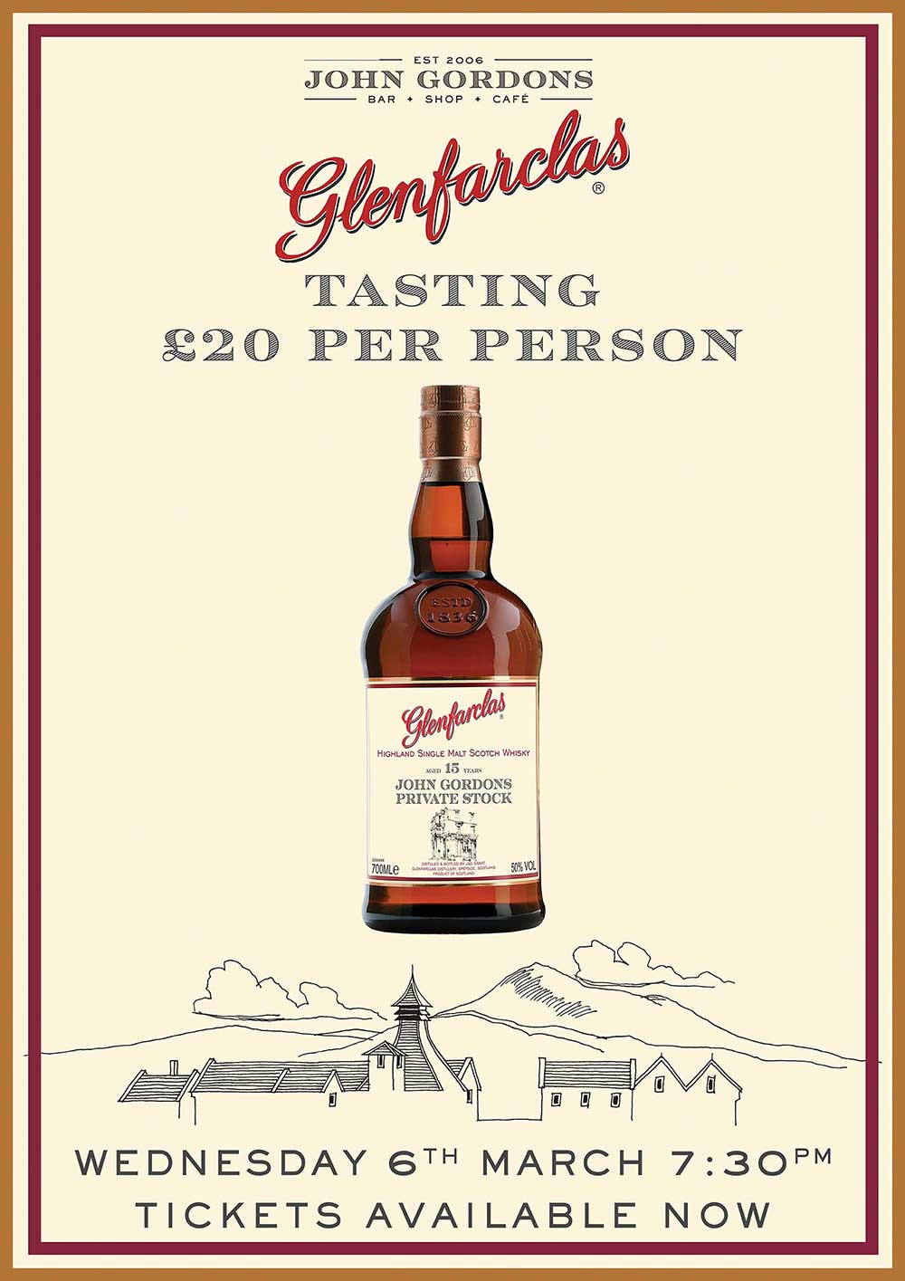 Join us for a unique whisky tasting with Glenfarclas at John Gordons on 6th March 2019