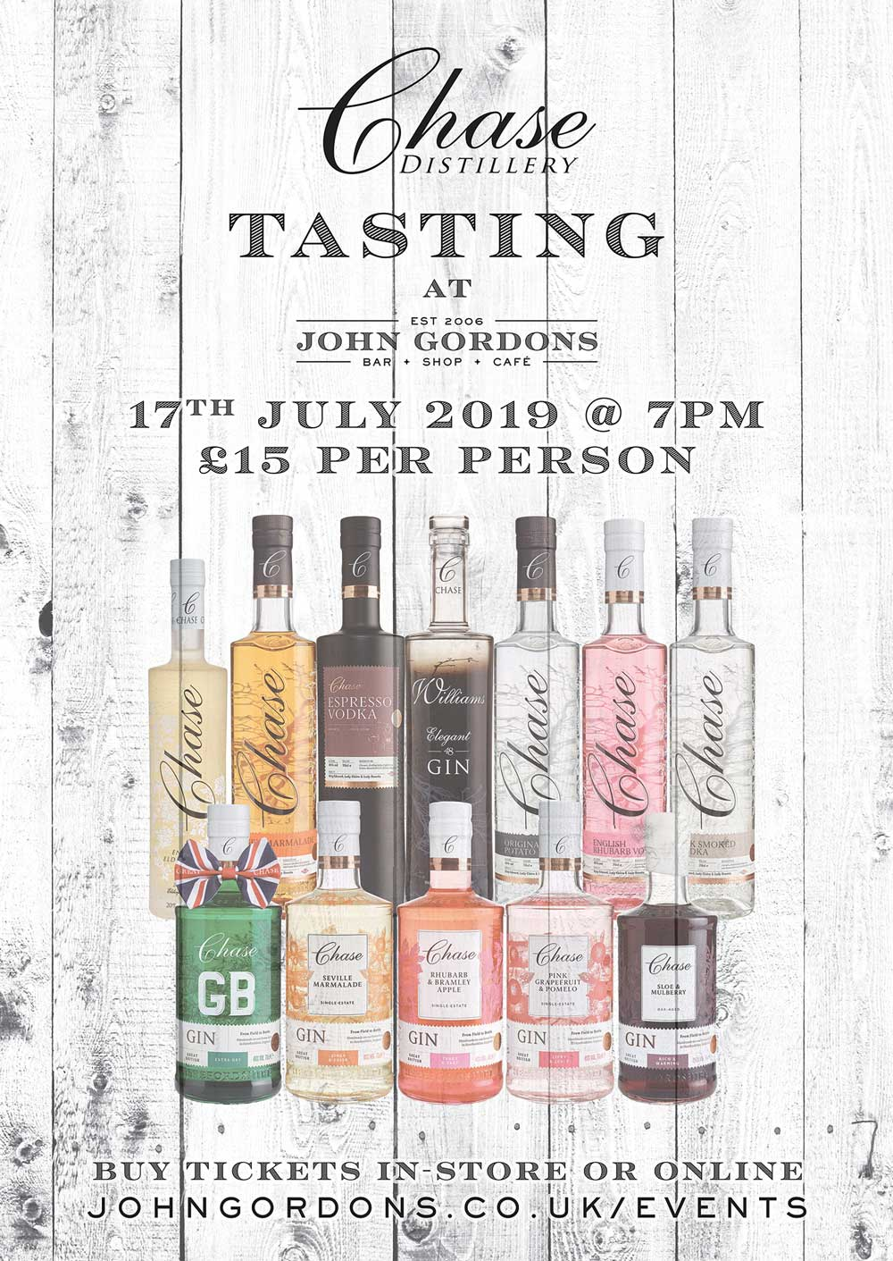WILLIAMS CHASE TASTING JULY 17TH 2019 AT JOHN GORDONS CHELTENHAM